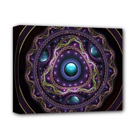 Beautiful Turquoise And Amethyst Fractal Jewelry Deluxe Canvas 14  X 11  by beautifulfractals