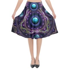 Beautiful Turquoise And Amethyst Fractal Jewelry Flared Midi Skirt