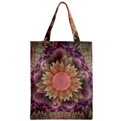 Pastel Pearl Lotus Garden Of Fractal Dahlia Flowers Zipper Classic Tote Bag by beautifulfractals