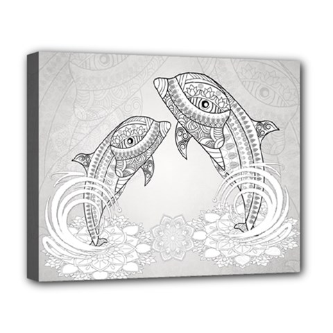 Beautiful Dolphin, Mandala Design Deluxe Canvas 20  X 16   by FantasyWorld7