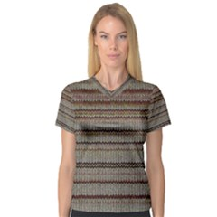 Stripy Knitted Wool Fabric Texture Women s V Neck Sport Mesh Tee