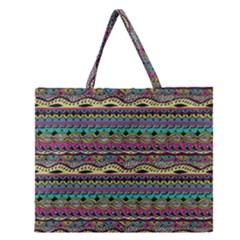 Aztec Pattern Cool Colors Zipper Large Tote Bag by BangZart