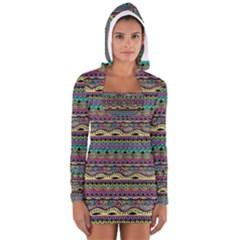 Aztec Pattern Cool Colors Women s Long Sleeve Hooded T Shirt