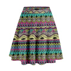 Aztec Pattern Cool Colors High Waist Skirt by BangZart