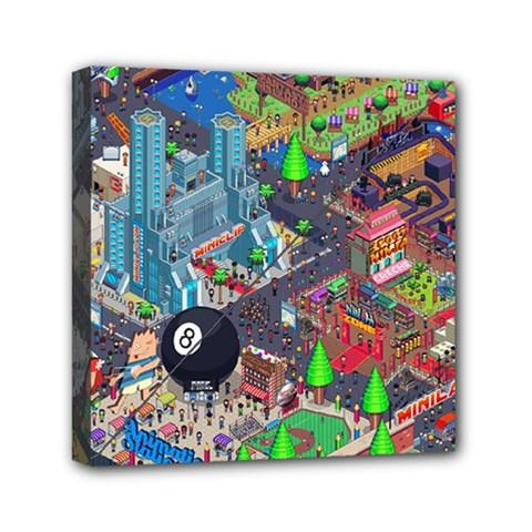 Pixel Art City Mini Canvas 6  X 6  by BangZart