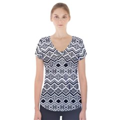 Aztec Design  Pattern Short Sleeve Front Detail Top by BangZart
