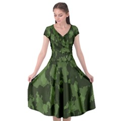 Camouflage Green Army Texture Cap Sleeve Wrap Front Dress by BangZart