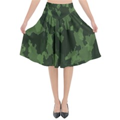 Camouflage Green Army Texture Flared Midi Skirt by BangZart