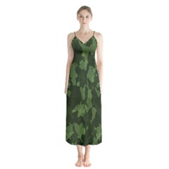 Camouflage Green Army Texture Button Up Chiffon Maxi Dress by BangZart