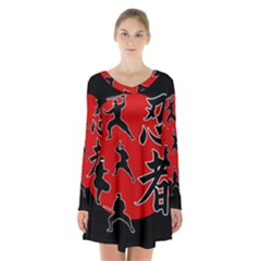 Ninja Long Sleeve Velvet V-neck Dress