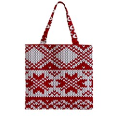 Crimson Knitting Pattern Background Vector Zipper Grocery Tote Bag by BangZart