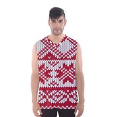 Crimson Knitting Pattern Background Vector Men s Basketball Tank Top