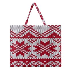 Crimson Knitting Pattern Background Vector Zipper Large Tote Bag by BangZart
