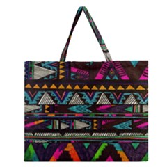 Cute Hipster Elephant Backgrounds Zipper Large Tote Bag by BangZart