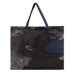 World Map Zipper Large Tote Bag by BangZart