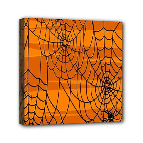 Vector Seamless Pattern With Spider Web On Orange Mini Canvas 6  X 6  by BangZart