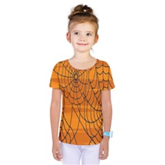Vector Seamless Pattern With Spider Web On Orange Kids  One Piece Tee by BangZart