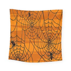 Vector Seamless Pattern With Spider Web On Orange Square Tapestry (small) by BangZart