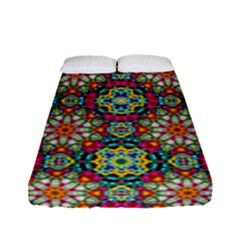 Jewel Tiles Kaleidoscope Fitted Sheet (full/ Double Size) by WolfepawFractals