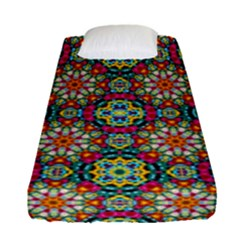 Jewel Tiles Kaleidoscope Fitted Sheet (single Size) by WolfepawFractals