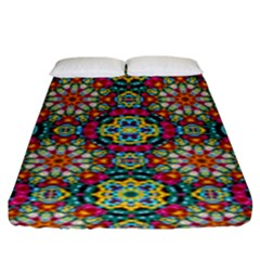 Jewel Tiles Kaleidoscope Fitted Sheet (king Size) by WolfepawFractals