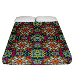 Jewel Tiles Kaleidoscope Fitted Sheet (california King Size) by WolfepawFractals