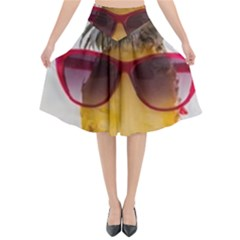 Pineapple With Sunglasses Flared Midi Skirt by VandDdesigns