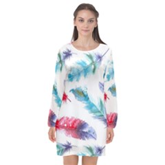 Watercolor Feather Background Long Sleeve Chiffon Shift Dress  by VandDdesigns