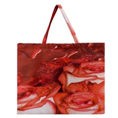 Nice Rose With Water Zipper Large Tote Bag by BangZart