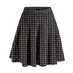 Dark Black Mesh Patterns High Waist Skirt by BangZart