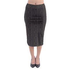 Dark Black Mesh Patterns Midi Pencil Skirt by BangZart