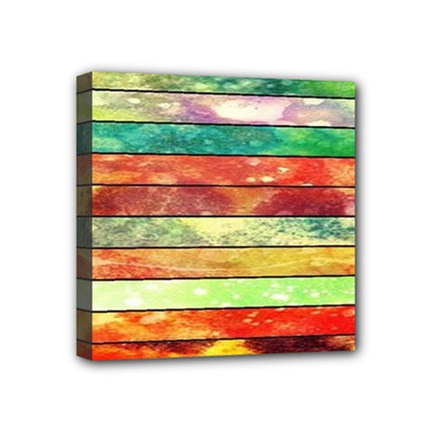 Stripes Color Oil Mini Canvas 4  X 4  by BangZart