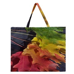 Green Yellow Red Maple Leaf Zipper Large Tote Bag by BangZart