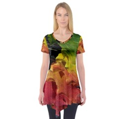 Green Yellow Red Maple Leaf Short Sleeve Tunic  by BangZart