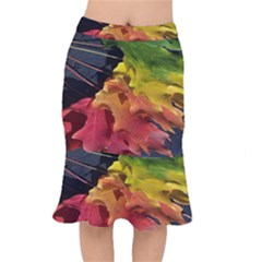 Green Yellow Red Maple Leaf Mermaid Skirt