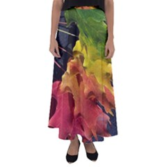 Green Yellow Red Maple Leaf Flared Maxi Skirt