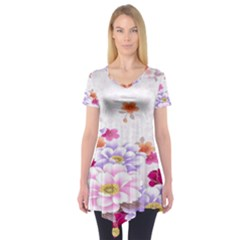 Sweet Flowers Short Sleeve Tunic  by BangZart