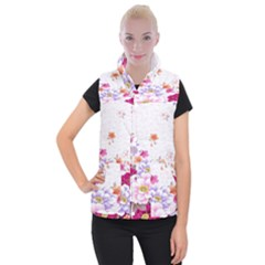 Sweet Flowers Women s Button Up Puffer Vest by BangZart