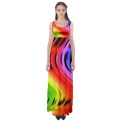 Colorful Vertical Lines Empire Waist Maxi Dress