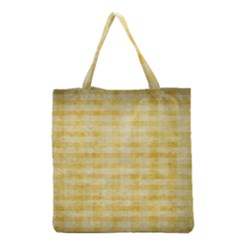 Spring Yellow Gingham Grocery Tote Bag by BangZart