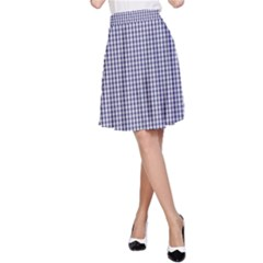 Usa Flag Blue And White Gingham Checked A Line Skirt by PodArtist