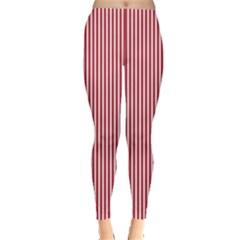 Usa Flag Red And White Stripes Leggings  by PodArtist