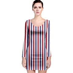 Usa Flag Red White And Flag Blue Wide Stripes Long Sleeve Bodycon Dress by PodArtist