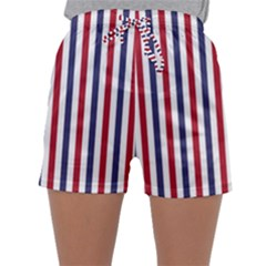 USA Flag Red White and Flag Blue Wide Stripes Sleepwear Shorts