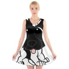 Newfie Cartoon Black White V-Neck Sleeveless Skater Dress