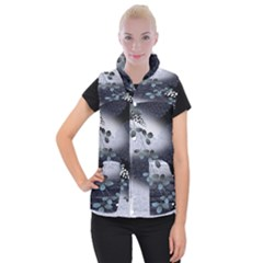 Abstract Black And Gray Tree Women s Button Up Puffer Vest by BangZart