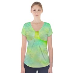 Abstract Yellow Green Oil Short Sleeve Front Detail Top