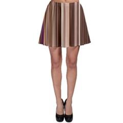 Brown Vertical Stripes Skater Skirt by BangZart