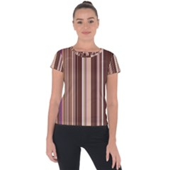 Brown Vertical Stripes Short Sleeve Sports Top