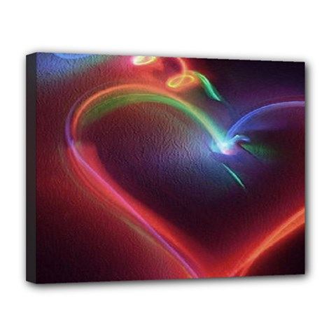 Neon Heart Canvas 14  X 11  by BangZart
